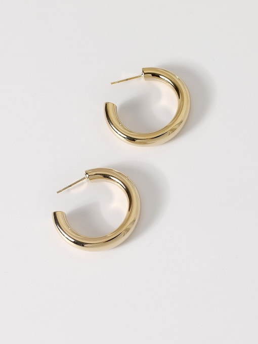 14k Gold [2cm] Brass Smooth Geometric Minimalist Hoop Earring